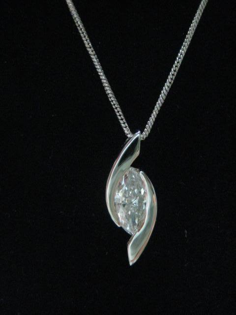 14K WG marquis diamond necklace