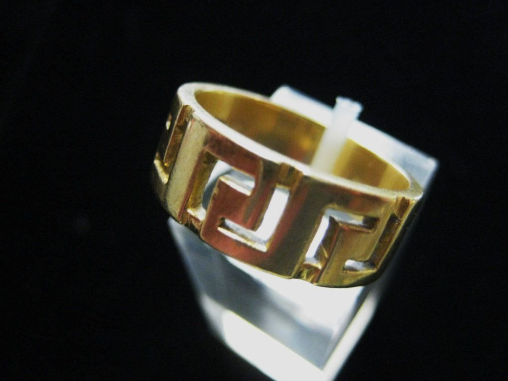18k greek gold key wedding band