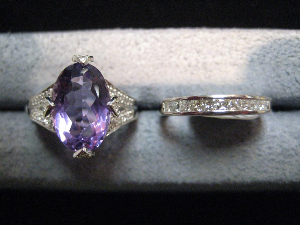 amethyst with split shank and matching bad