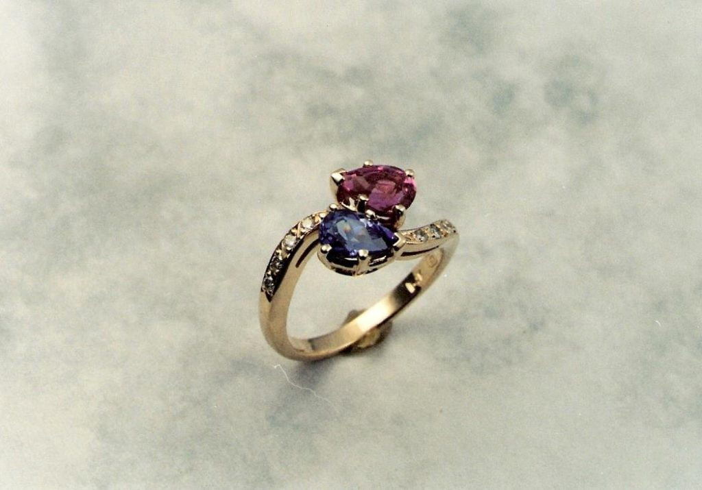 bypass ring blue and purple sapphires