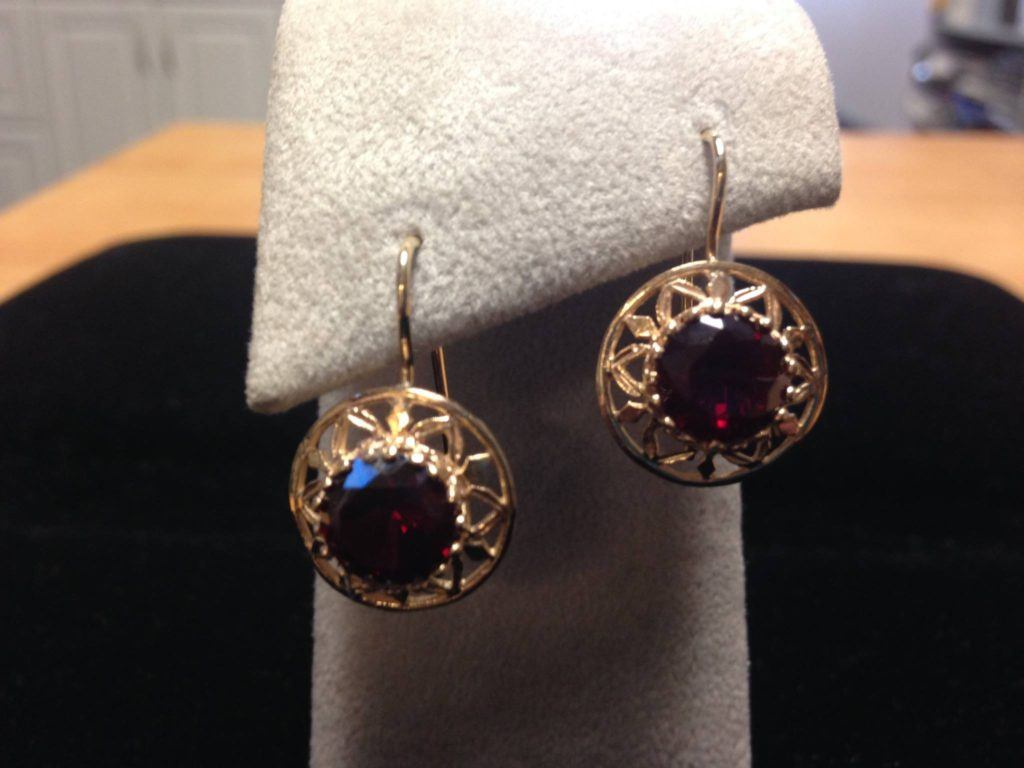 vintage-y garnet earrings